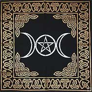 "TRIPLE GODDESS PENTAGRAM 24"" Altar/Tarot Cloth"