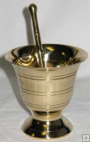 "BRASS 3 1/2"" Mortar/Pestle"